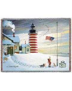 West Quoddy Lighthouse Gewebte Baumwolldecke (100% Baumwolle) von American Heritage