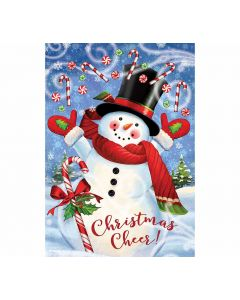 Christmas Cheer - Schneemann mit Candy Canes als Gartenfahne von American Heritage