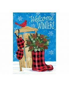 Welcome Winter Gartenfahne mit Stiefeln und Schlitten von American Heritage