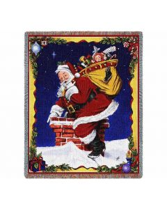 Christmas blanket Down I Go Santa
