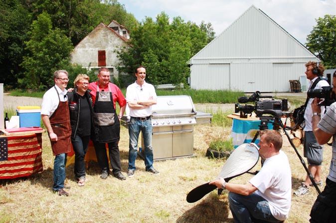 Patrick Ryan von American Heritage beim Grillduell von Kabel Eins - mit Andreas Rummel, Michael Karanez und Juan Parody