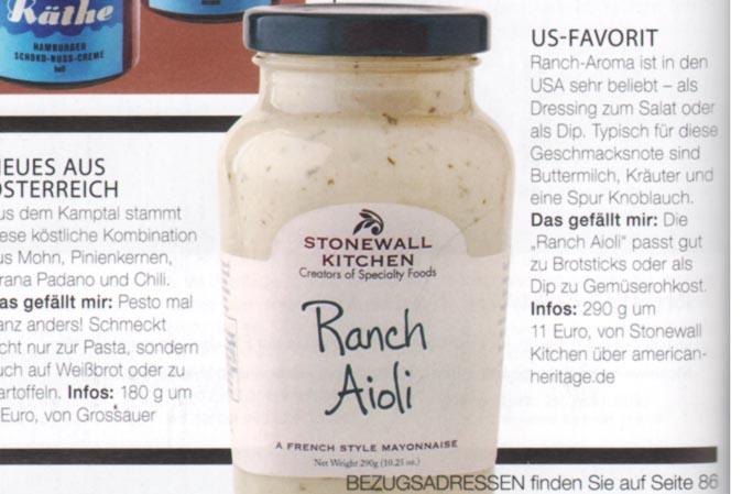 Köstliches Ranch Aioli von Stonewall Kitchen bei American Heritage