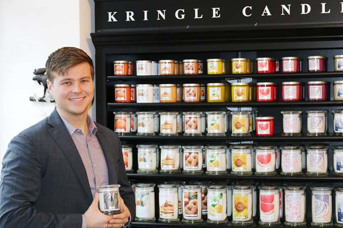 Mick Kittredge von Kringle Candle im Münchener American Heritage-Laden mit GREY!