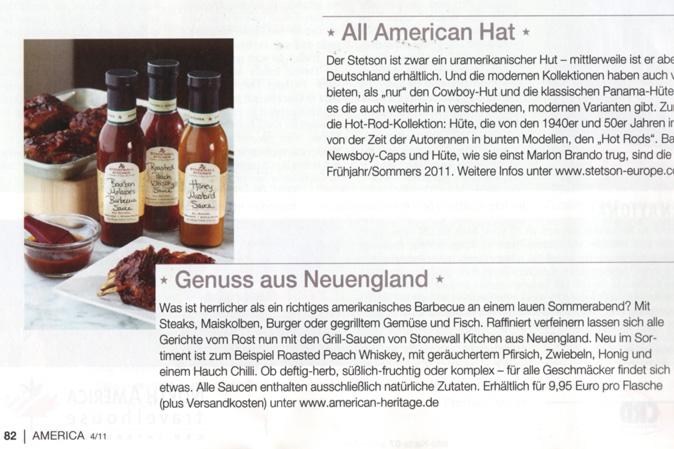 Stonewall Kitchen Saucen im America Journal Ausgabe 4/2011